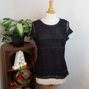 🚨NEW LIST! M&S Collection Black Lace Overlay Top